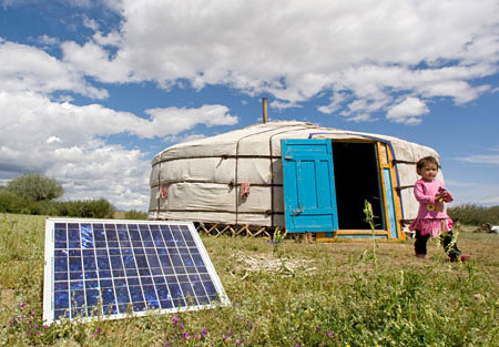 Family in Mongolia Using Solar Panel