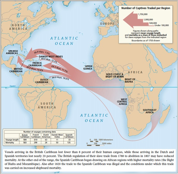 Map 122 - Slave Mortality, as percent of Slaves Leaving, and
